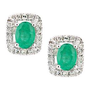 9ct White Gold Emerald and Diamond Oval Gemstone Stud Earrings