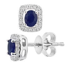 Load image into Gallery viewer, 9ct White Gold Sapphire and Diamond Oval Gemstone Stud Earrings