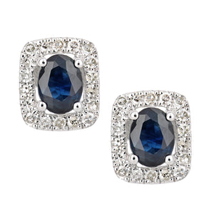 9ct White Gold Sapphire and Diamond Oval Gemstone Stud Earrings