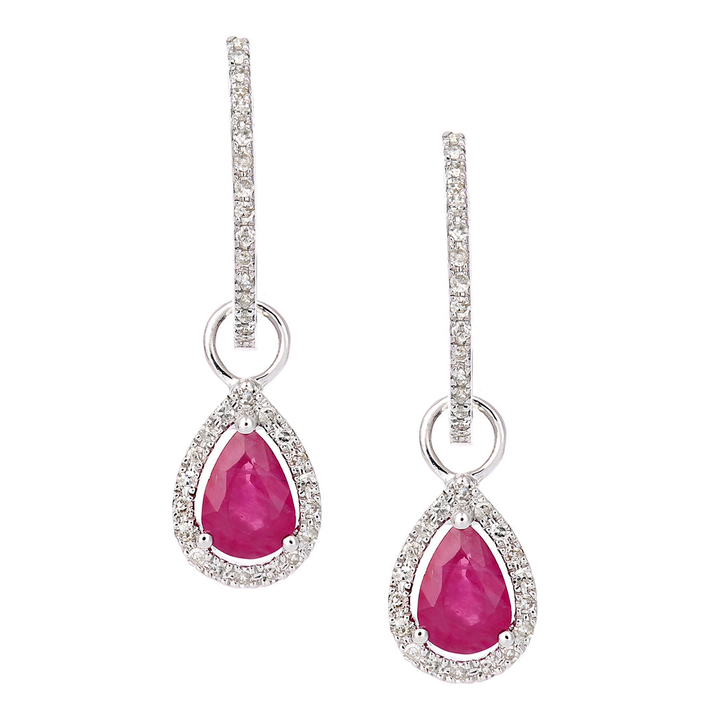 9ct White Gold Diamond and Ruby Teardrop Hoop Earrings