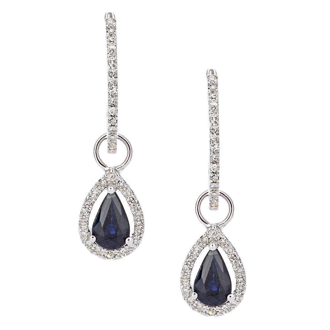 9ct White Gold Diamond and Sapphire Teardrop Hoop Earrings