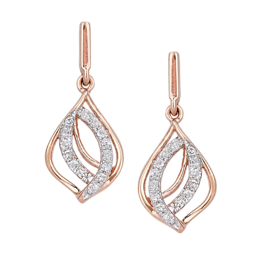 9ct Rose Gold Diamond Drop Earrings in Twist Teardrop