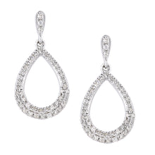 Load image into Gallery viewer, 9ct White Gold Diamond Earrings in Teardrop Design