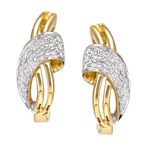 18ct Yellow Gold Diamond Hoop Earrings in Crossover Design