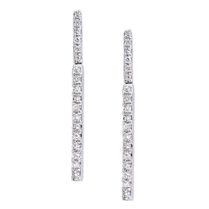 9ct White Gold Diamond Stick Earrings