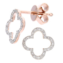 Load image into Gallery viewer, 9ct Rose Gold Diamond Flower Stud Earrings