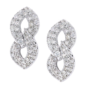 9ct White Gold Diamond Earrings in Figure 8 Design