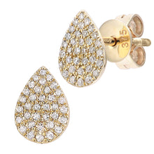 Load image into Gallery viewer, 9ct Yellow Gold Diamond Stud Teardrop Earrings