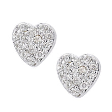 Load image into Gallery viewer, 9ct White Gold Diamond Heart Cluster Earrings