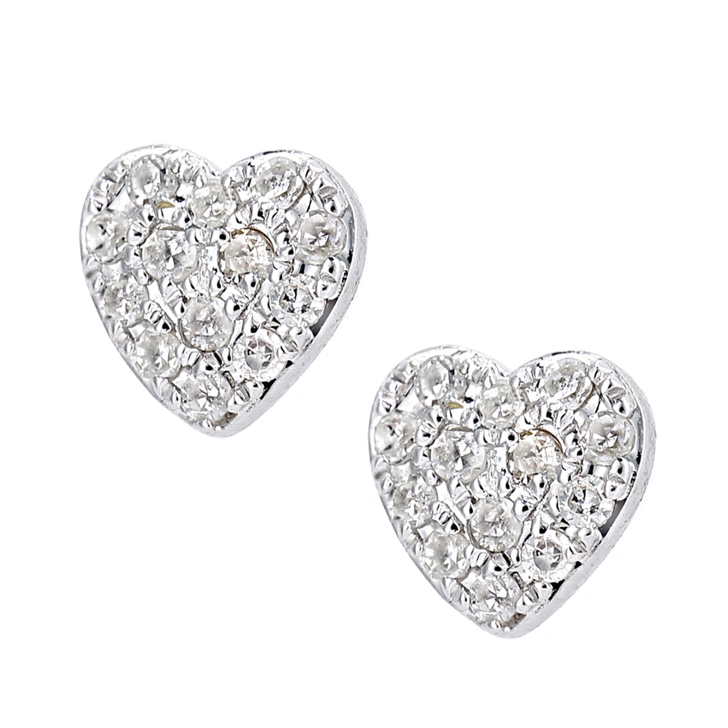 9ct White Gold Diamond Heart Cluster Earrings