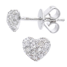 Load image into Gallery viewer, 9ct White Gold Diamond Heart Stud Earrings