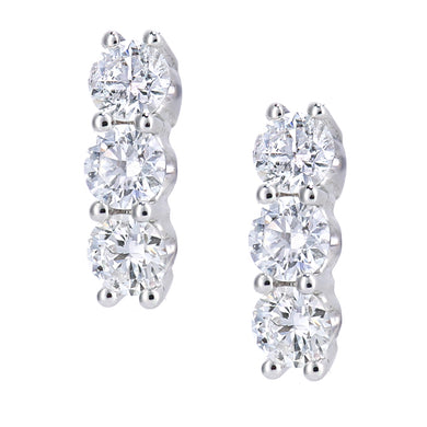 18ct White Gold Diamond Trilogy Earrings, 0.50ct Diamond