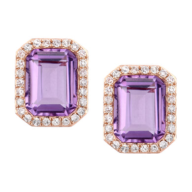 9ct Rose Gold Diamond and Amethyst Rectangular Cut Stud Earrings