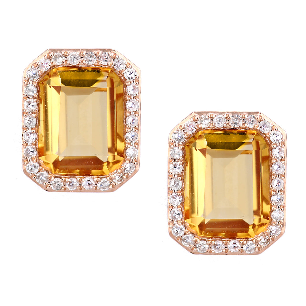 9ct Rose Gold Diamond and Citrine Rectangular Cut Stud Earrings