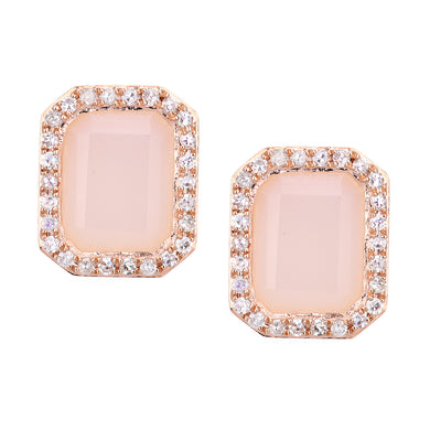 9ct Rose Gold Diamond and Pink Opal Rectangular Cut Stud Earrings