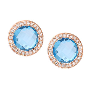 9ct Rose Gold Diamond and Blue Topaz Stud Earrings