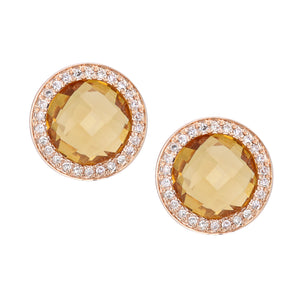 9ct Rose Gold Diamond and Citrine Stud Earrings