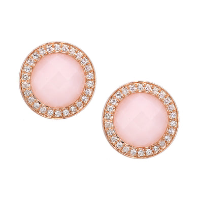 9ct Rose Gold Diamond and Pink Opal Stud Earrings