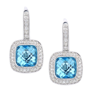 9ct White Gold Diamond and Blue Topaz Square Hoop Earrings