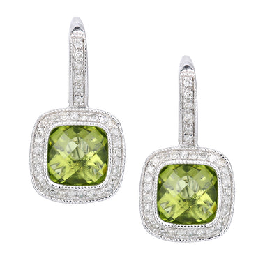 9ct White Gold Diamond and Peridot Square Hoop Earrings