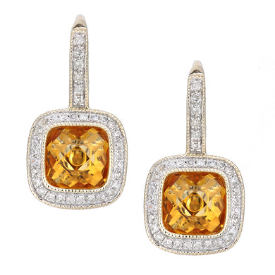 9ct Yellow Gold Diamond and Citrine Square Hoop Earrings