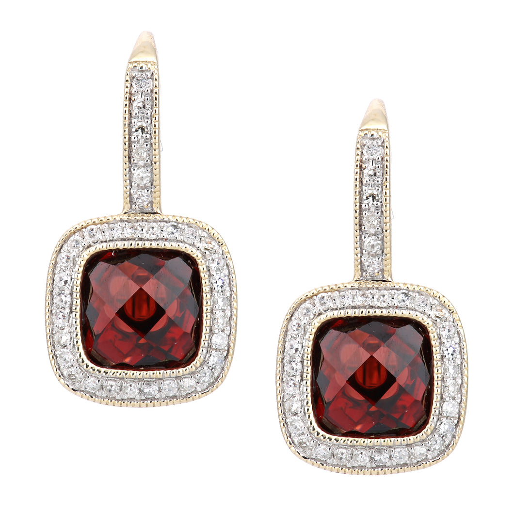9ct Yellow Gold Diamond and Garnet Square Hoop Earrings