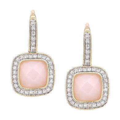 9ct Yellow Gold Diamond and Pink Opal Square Hoop Earrings
