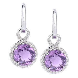 9ct White Gold Diamond and Amethyst Dangle and Drop Hoop Earrings