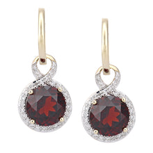 Load image into Gallery viewer, 9ct Yellow Gold Diamond and Garnet Dangle and Drop Hoop Earrings