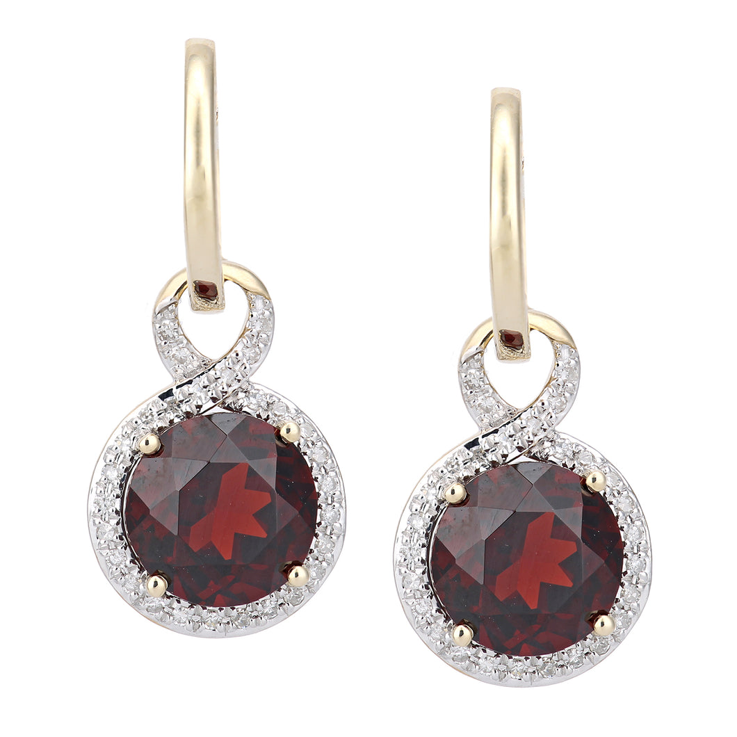 9ct Yellow Gold Diamond and Garnet Dangle and Drop Hoop Earrings