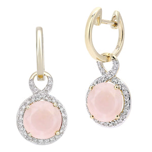 9ct Yellow Gold Diamond and Pink Opal Dangle and Drop Hoop Earrings