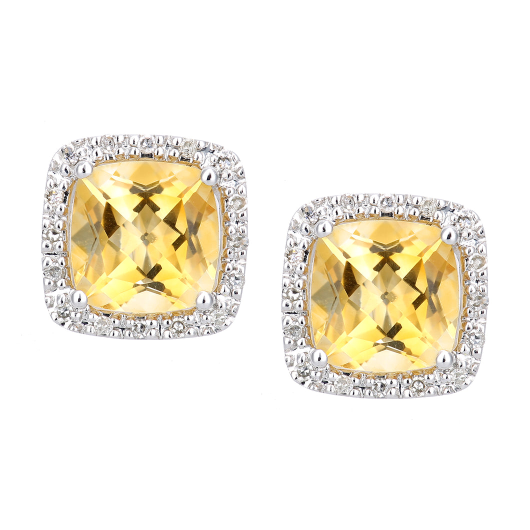 9ct White Gold Diamond and Citrine Square Stud Earrings