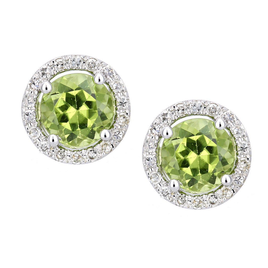 9ct White Gold Diamond and Peridot Circle Stud Earrings