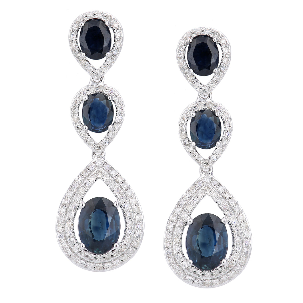 18ct White Gold Diamond and Sapphire 3 Layer Teardrop Dangle Drop Earrings