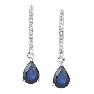 18ct White Gold Diamond and Sapphire Dangle Drop Hoop Earings