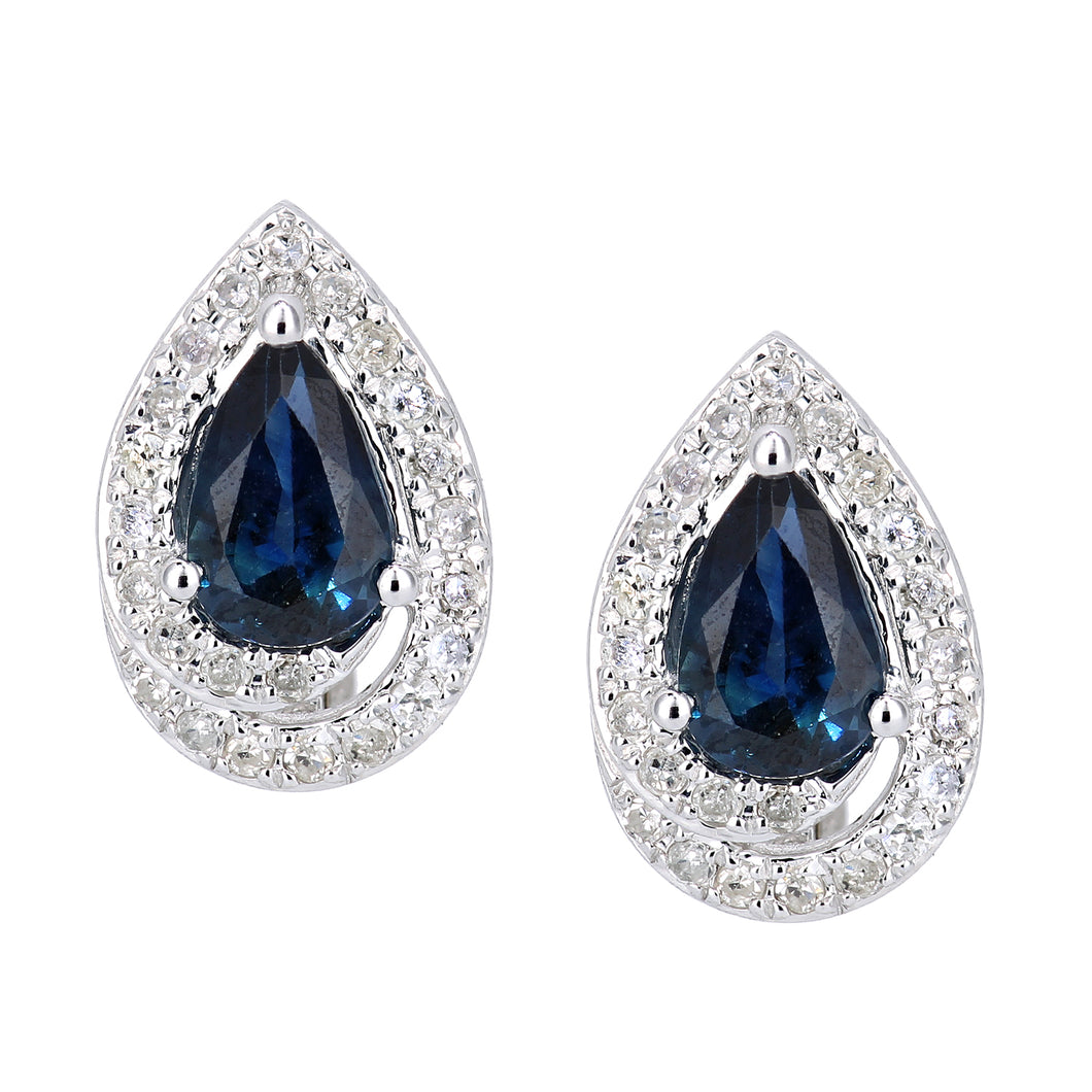 9ct White Gold Diamond and Sapphire Teardrop Stud Earrings