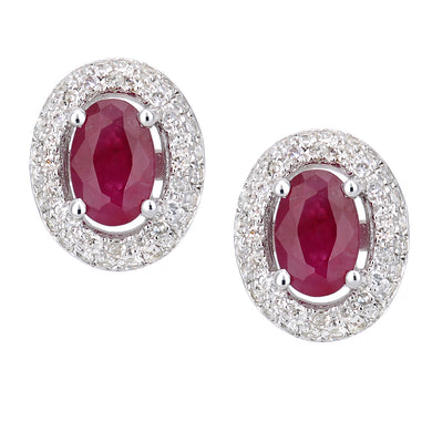 9ct White Gold Diamond and Ruby Oval Stud Earrings