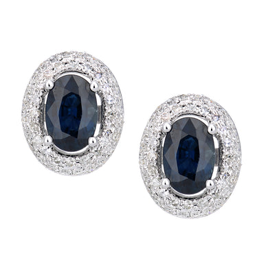 9ct White Gold Diamond and Sapphire Oval Stud Earrings