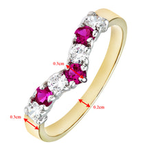Load image into Gallery viewer, 9ct Yellow and White Gold Ladies Stone Set Wishbone Ring