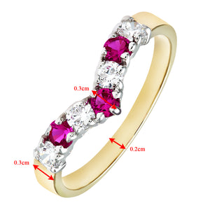 9ct Yellow and White Gold Ladies Stone Set Wishbone Ring