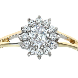 9ct Yellow and White Gold Ladies Stone Set Cluster Ring