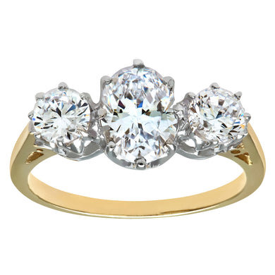 9ct Yellow and White Gold Ladies 3 Stone Ring