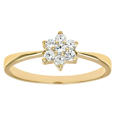 9ct Yellow Gold Ladies Stone Set Daisy Cluster Ring