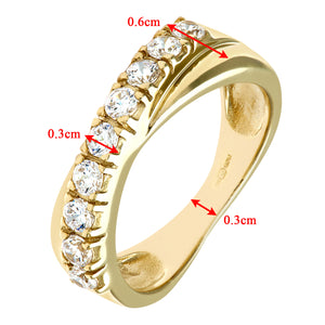 9ct Yellow Gold Ladies Half Eternity Crossover Stone Set Ring