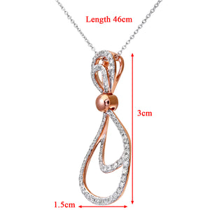 9ct Rose and White Gold Diamond Teardrop Pendant and Chain of 46cm