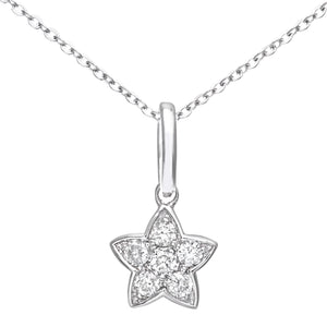 9ct White Gold 0.10ct Diamond Star Pendant and Chain of 46cm