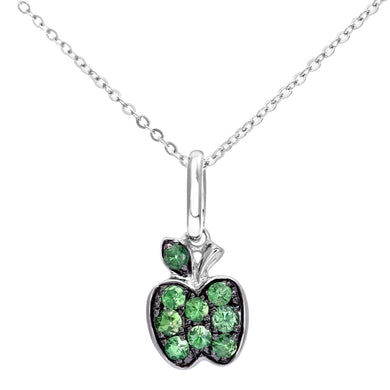 9ct White Gold Green Garnet Apple Pendant and Chain of 46cm