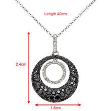 Load image into Gallery viewer, 18ct White Gold 1.00ct Black and White Diamond Filled Round Loop Pendant with 40cm Chain