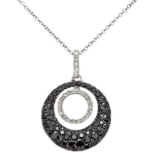 18ct White Gold 1.00ct Black and White Diamond Filled Round Loop Pendant with 40cm Chain