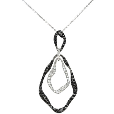 18ct White Gold 0.88ct Black and White Diamond Filled, Marquise Pendant with 40cm Chain